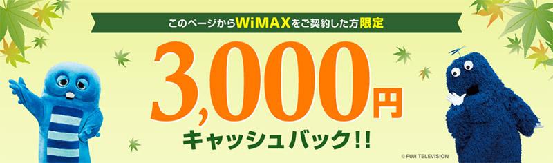 UQ WiMAX キャッシュバック